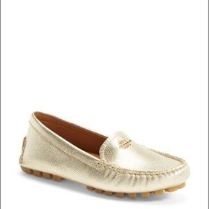 Coach Gold Amber Leather Metallic Driving Loafers